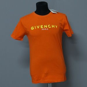 Shirts - Givenchy Neon Shiny Logo Print On Orange T-Shirt